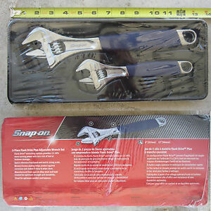 New Snap On Blue Soft Grip Flank Drive Plus Adjustable Wrench 2 Pcs Set Fadh702b