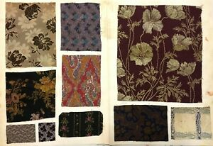 Section Of 19th Century French Woven Designs Wool Silk Swatch Book 64 Designs