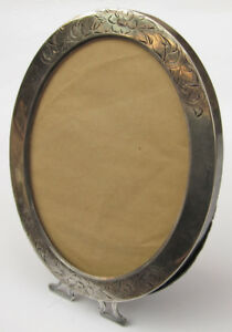Antique Sterling Silver Etched Oval Picture Frame Floral Motif 6 25 X 5 Lovely