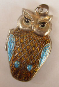 Vintage Chinese Export Silver Sterling Owl Enamel Locket Pendant Lovely