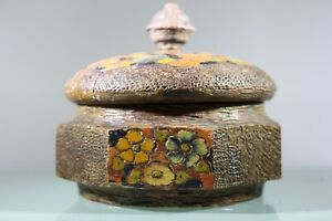 Carved Nut Box Hand Painted Carved Flowers Beautiful Octagonal Box Dollymix