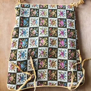 Mid Century Embroidered Chair Cushion Velvet Back Floral Flowers Oblong Tie On