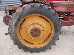 12 4 X 38 Armstr Tires 95 Mh Masey Harris 33 Tractor 9 Bolt Press Steel Rims