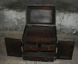 11 Chinese Huanghuali Wood Dynasty Dragon Storage Drawer Cabinet Chest Box