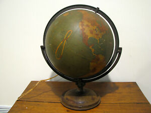 Antique Crams World Globe 12 Light Up Terrestrial