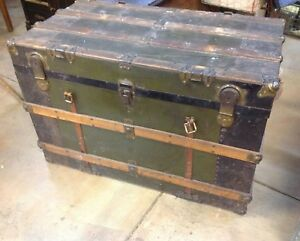 Antique Metal Oak Wood Slat Steamer Trunk W Tray Farmhouse Chest 38x20 Original
