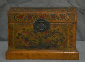 10 Old Chinese Lacquerware Wood Carved Flower Two Dragon Storage Chest Bin Box