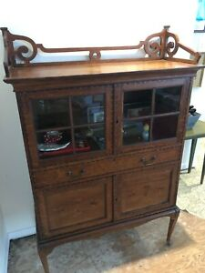 Antique Wooden Cabinet With Hand Carved Tulips And Wood Inlays 55 X 36 X 13