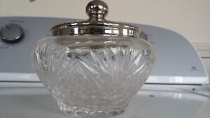 Antique Crystal Glass Apothecary Powder Jar Silver Lid Bowl Candy Display