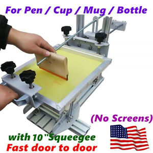Usa Manual Cylinder Screen Printing Machine 10 Squeegee For Pen Mug Bottle