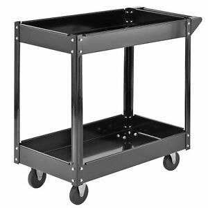 Utility Cart With Wheels 2 Shelf Steel Tools Supplies Commercial Service 220 Lbs