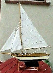 Antique Vintage Toy Model Wooden Pond Yacht Sail Boat Sailboat Ship Metal Hull