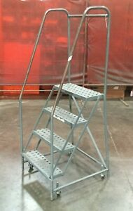 4 Step Rolling Warehouse Ladder A0080072 Unknown Manufacturer
