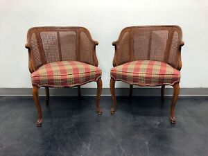 French Country Style Caned Barrel Chairs Pair