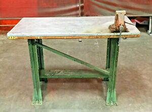 Stainless Work Table W Mounted Vice 24 l X 48 w X 34 h