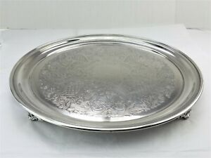 Mc Silver Footed Cake Plate Cocktail Serving Tray Platter 13 5 W Pierced Feet
