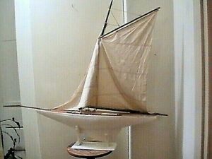 Antique Vintage Toy Model Wooden Pond Yacht Sail Boat Sailboat Ship 29 By 33