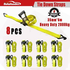 8pc 1 5 Rubber Handle Ratchet Cargo Tie Down Straps With Coated Double J Hook