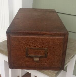 Vintage Single Drawer Shaw Walker Oak Index Card File Box Cabinet Holds 4 X 6