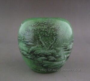 Old Chinese Green Glaze Winter Snow Porcelain Brush Washer Tank Mark