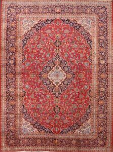 One Of A Kind Persian Wool Rug Floral Hand Knotted Oriental Red Area Rug 9x13