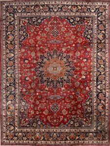 Persian Traditional Floral Hand Knotted Wool Oriental Area Rug Carpet 10 X 13