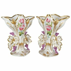 Pair Of French Hand Painted And Gilt Porcelain Old Paris Spill Vases Circa 1880