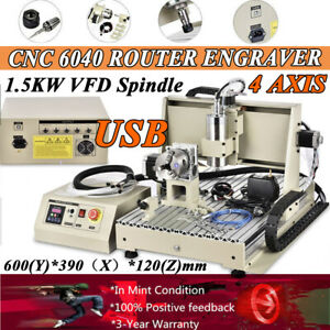 Cnc6040 4 Axis Router Engraver Machine Milling Carving 3d Woodwork 1 5kw Usb Vfd