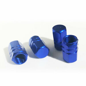 4x Blue Aluminum Tire Rim Valve Wheel Air Port Dust Cover Caps Us Seller
