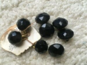 8 Atq Black Glass Faceted Toggle Ball Dome Charm Buttons 3 8 5 8