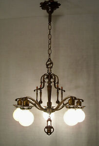 1920 S Moe Bridges Ornate Bronze Tudor Chandelier Restored Antique Ceiling Light