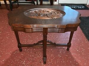 Vintage Walnut Coffee End Occasional Table Carved Female Sunbathing