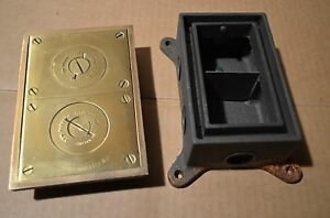 Lew Electric Fittings Co Brass Double Outlet Electrical Floor Box