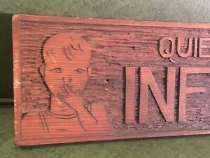 Original Antique Sign Carved Wood Folk Art Quiet Infirmary Medical Advertising