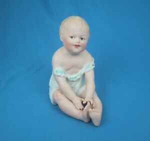 Antique Heubach Piano Baby Porcelain Doll Vintage Figurine Germany Sweet