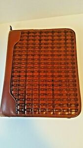 Franklin Quest Tan Woven Calfskin Leather Binder Planner Zip 7 Rings Usa Large