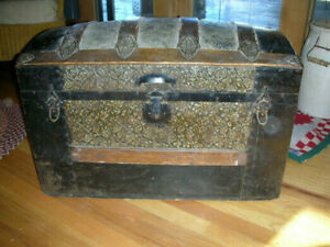 Antique Steamer Trunk Victorian Embossed Metal Wood Dome Top W Orig Tray