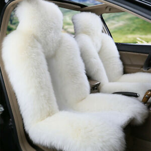 New Natural Genuine Sheepskin Car Front Seat Covers Fur Warm Winter Dense Wool