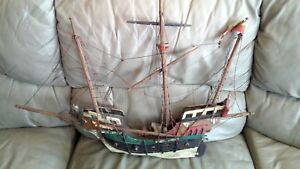 Atq Wood Model Sailing Boat Handmade W Germany Ship 35x24 Bull N Y Beer Barrel