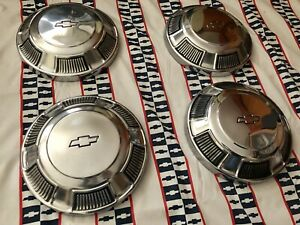 Gm 68 72 Chevy Bel Air Biscayne Nova Impala Dog Dish Hubcaps Wheel Covers Nice