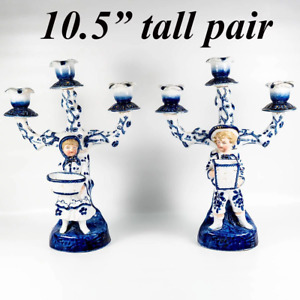 Antique Cold Paste Porcelain French 3 Branch Candelabra Pair Figural Blue White