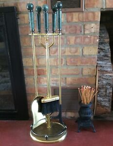 Large Unique Brass And Marble Fireplace Tools Tool Set Vintage