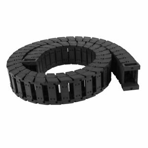 25mm X 38mm Black Towline Cable Wire Carrier Drag Chain Connector 101cm Long
