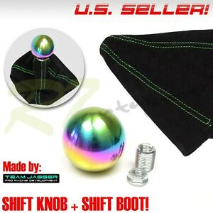 7 16 20 Stainless Steel Neochrome Round Ball Gear Shift Knob Green Stitch Boot