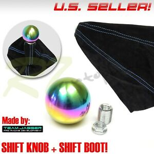 7 16 20 Stainless Steel Neochrome Round Ball Gear Shift Knob Blue Stitch Boot
