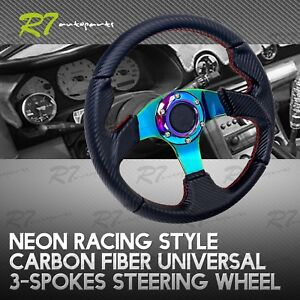 Fit Buick 320mm 6 Bolt Black Red Stitched Cf 3 Spoke Sport Racing Steering Wheel