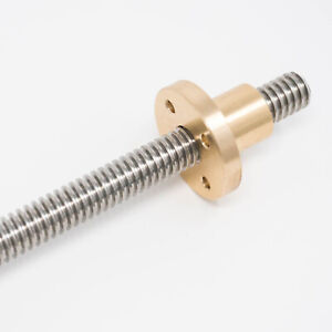 Left Hand 1 2 10 Stainless Steel Acme Threaded Rod Lead Screw Brass Nut 12 24 36