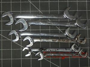 Snap On Tools Sae 4 Way Angle Head Open End Wrench 6pc Set 7 16 3 4 With Rust
