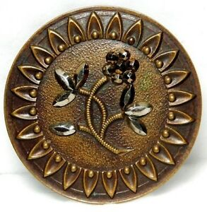 X Large Antique Metal Button Victorian Brass With Cut Steel Daisy Flower 58a1