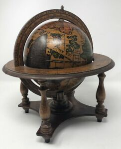 Vintage Old World Wooden Desk Globe Italy
